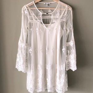 White Lace Summer Dress Boho Bell Sleeve